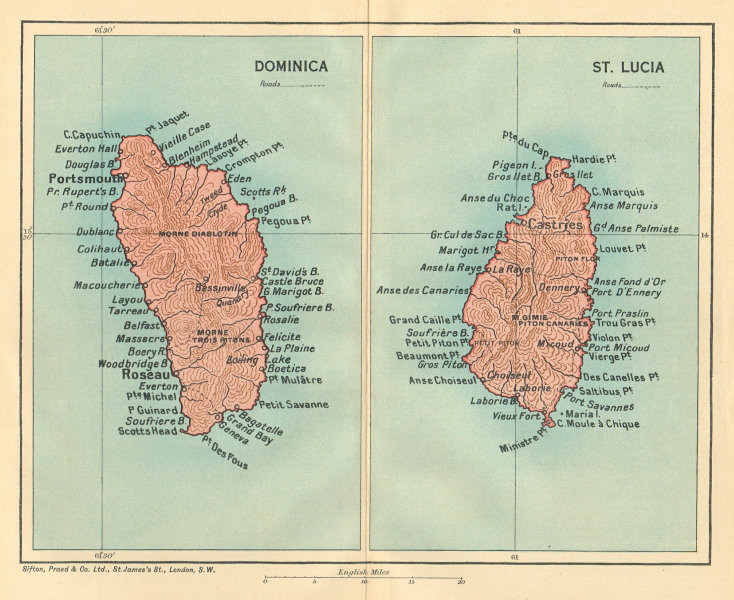 Associate Product DOMINICA & ST LUCIA. Vintage map. West Indies Caribbean 1935 old vintage