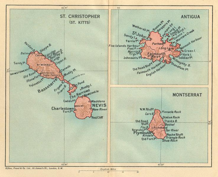 Associate Product ST CHRISTOPHER (ST KITTS), ANTIGUA & MONTSERRAT. West Indies Caribbean 1935 map