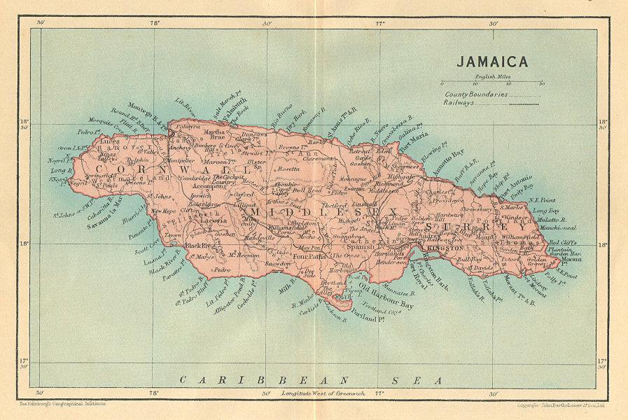 Associate Product JAMAICA. Vintage map. West Indies. Caribbean 1935 old vintage plan chart