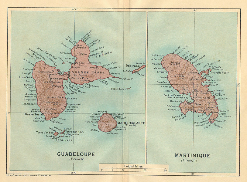 Associate Product ANTILLES FRANÇAISES. Martinique Guadeloupe. French West Indies vintage map 1935