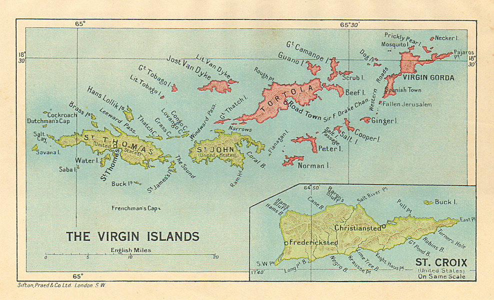 Details about BRITISH/US VIRGIN ISLANDS Tortola Virgin Gorda St Croix St  Thomas/John 1935 map