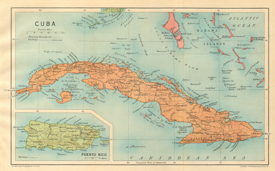Details about CUBA. Vintage map. Inset Puerto Rico. West Indies. Caribbean  1935 old