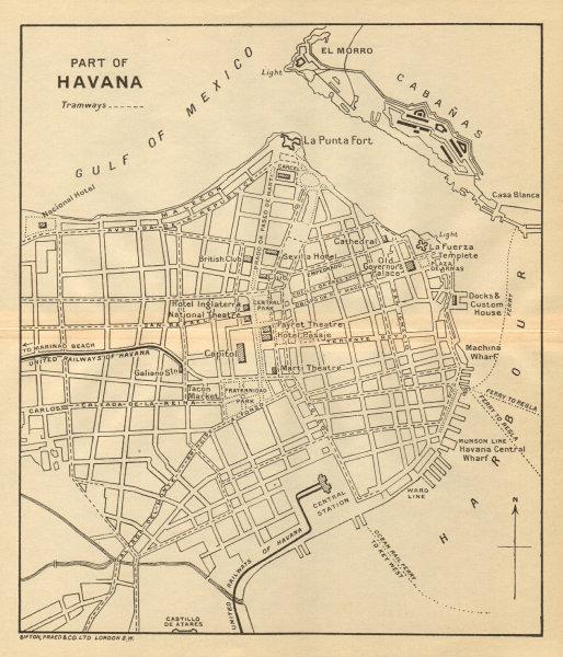 Associate Product HAVANA. Vintage town plan. Railways & streetcar lines. Cuba. Caribbean 1935 map