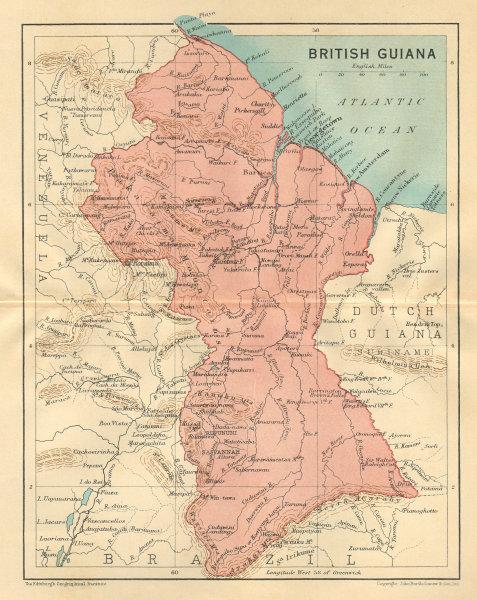Associate Product BRITISH GUIANA (GUYANA). Vintage map. Guyana. Caribbean 1935 old vintage