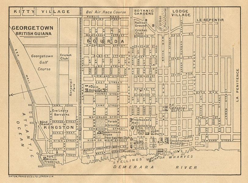 Associate Product GEORGETOWN. Vintage town map. British Guiana (Guyana) /Guyana. Caribbean 1935