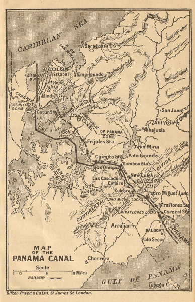 Associate Product PANAMA CANAL. Vintage map. Railway. Shows canal zone. Caribbean 1935 old