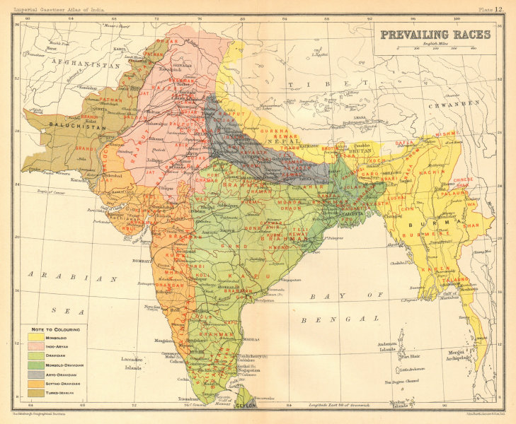 Associate Product SOUTH ASIA. BRITISH INDIA. Prevailing Races. Dravidian Mongoloid Aryan 1931 map