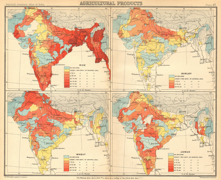 Associate Product BRITISH INDIA Food-grains Agriculture produce Wheat Rice Barley Jowar 1931 map