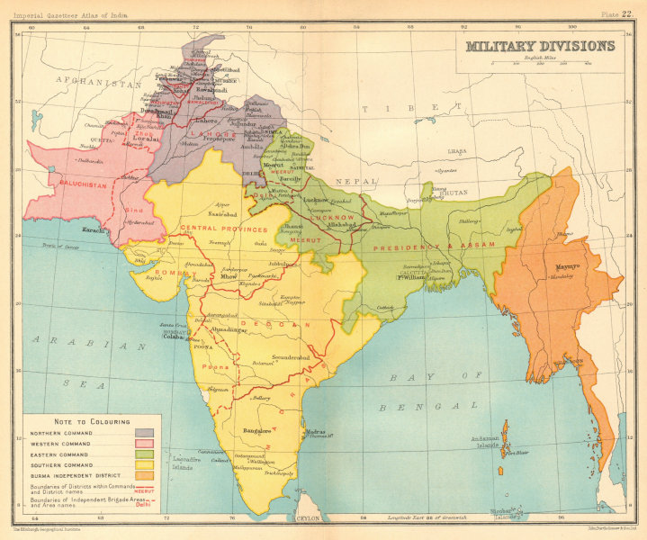 Associate Product BRITISH INDIA Military Divisions. Northern Southern Eastern Commands 1931 map