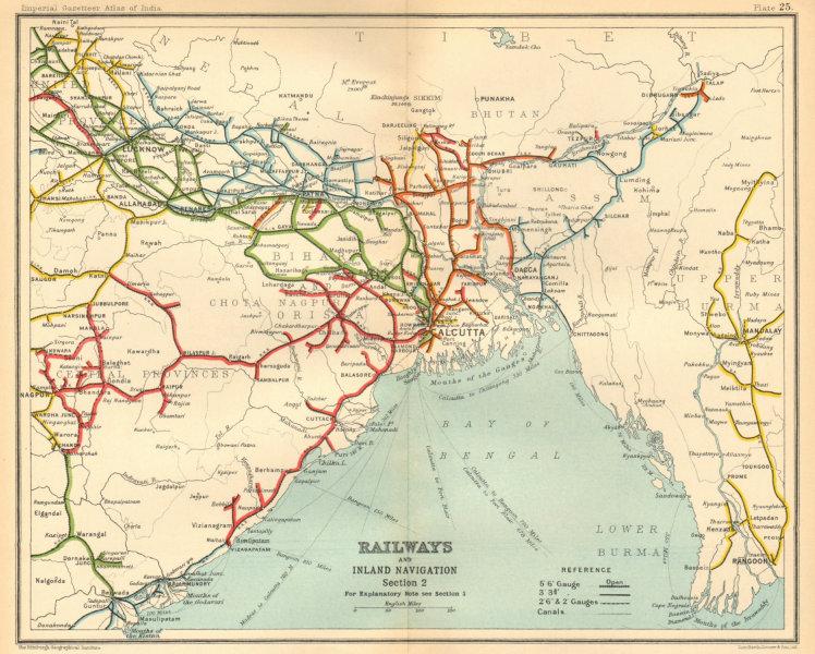 Associate Product BRITISH INDIA RAILWAYS North-east. Burma Bangladesh Bengal 1931 old map