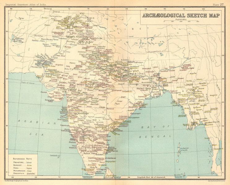 Associate Product BRITISH INDIA Archaeological map. Buddhist Hindu & Muslim sites 1931 old