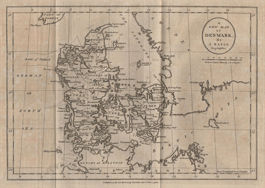 Associate Product A New Map of Denmark. BAYLY 1782 old antique vintage plan chart
