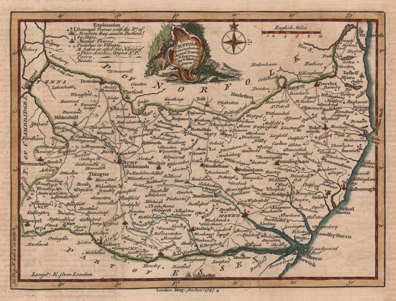 Associate Product Suffolk drawn from an actual Survey. Thomas KITCHIN. County map 1747 old