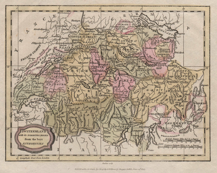 Associate Product Switzerland with its Subjects & Allies from the best authorities BARLOW 1807 map