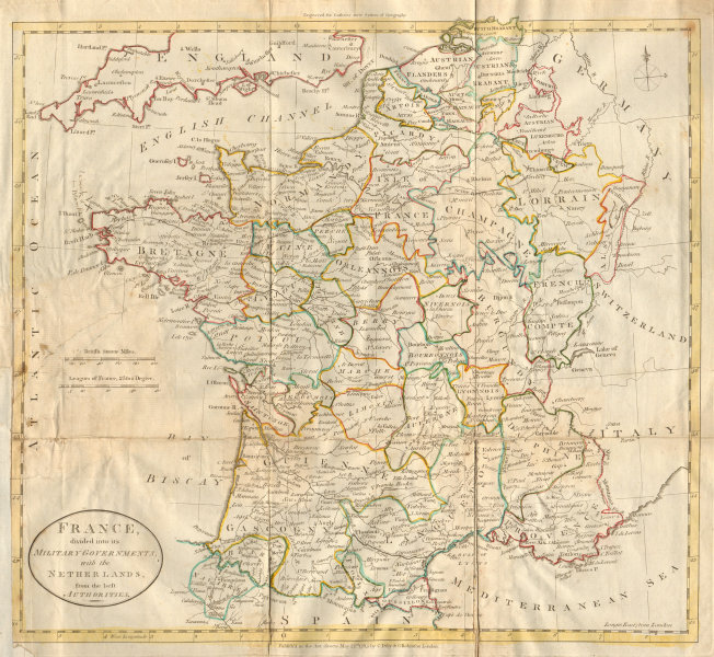 Associate Product France divided into its Military Governments. DILLY & ROBINSON 1785 old map