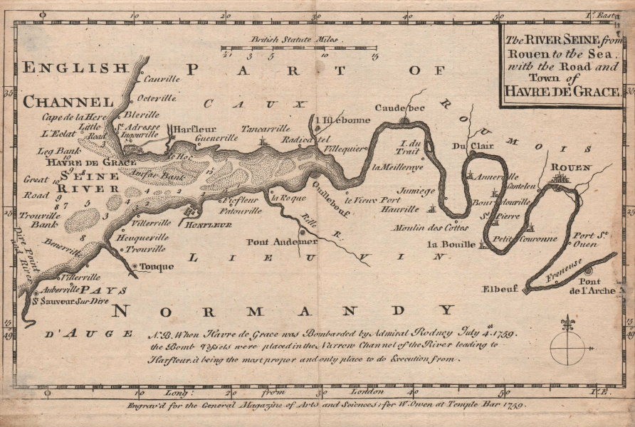 Associate Product The River Seine from Rouen to the Sea, with… Havre de Grace. OWEN 1759 old map