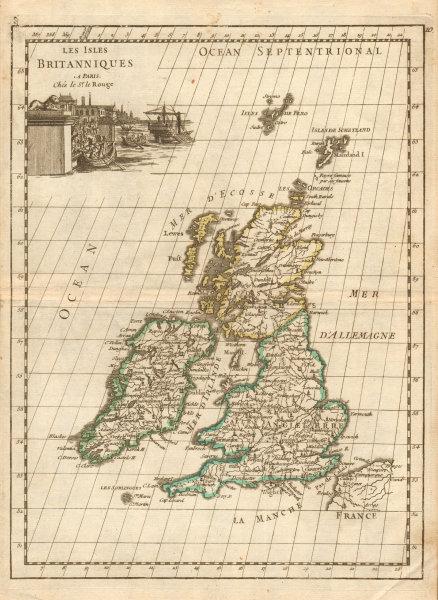 Associate Product Les Isles Britanniques. British Isles. LE ROUGE c1744 old antique map chart