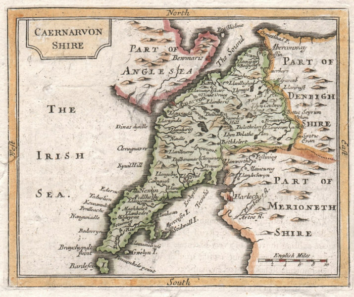 Associate Product Antique county map of Caernarfonshire by John Seller / Francis Grose 1783