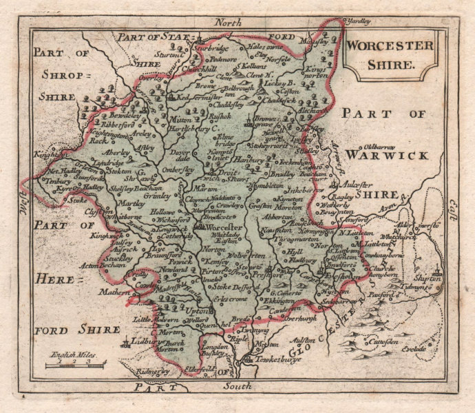 Associate Product Antique county map of Worcestershire by Francis Grose / John Seller 1783