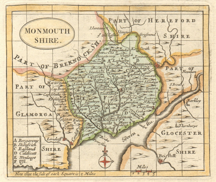 Antique county map of Monmouthshire by Francis Grose / John Seller 1783