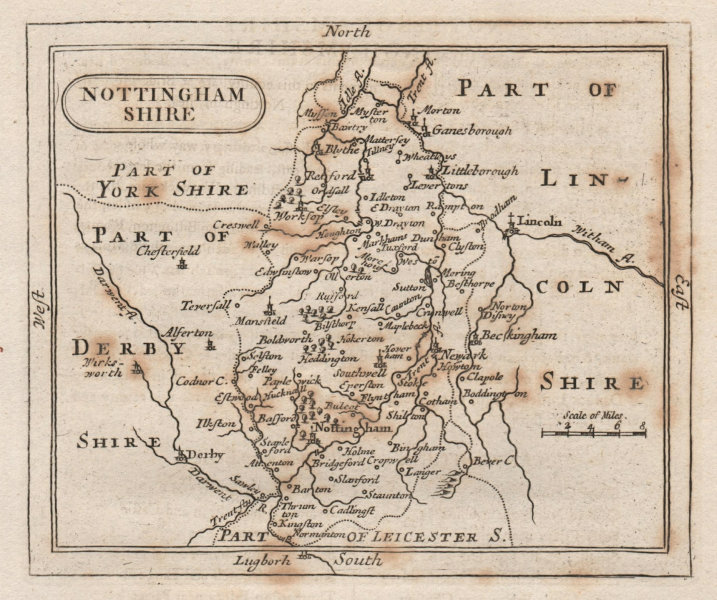 Associate Product Antique county map of Nottinghamshire. Francis Grose/John Seller. Spotting 1795