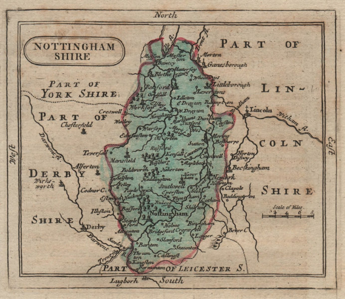 Associate Product Antique coloured county map of Nottinghamshire. Francis Grose/John Seller 1795