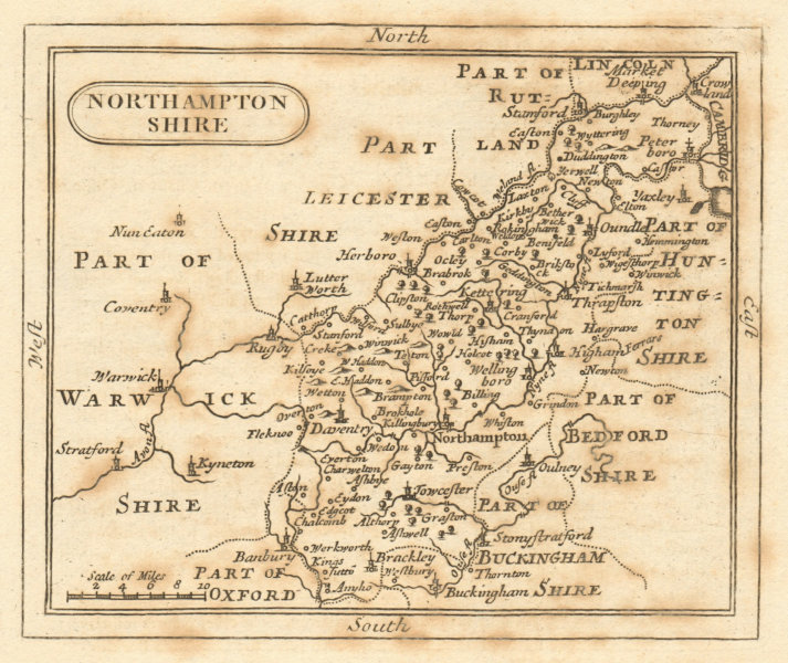 Antique county map of Northamptonshire by Francis Grose / John Seller 1795