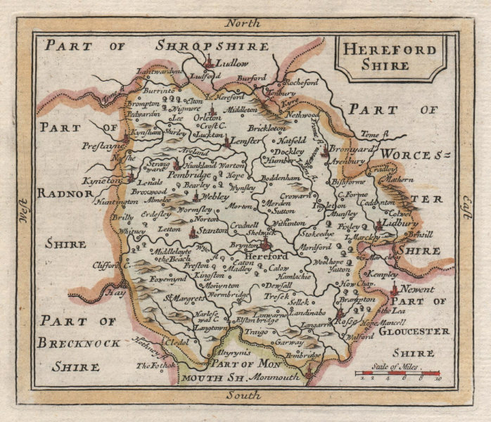 Associate Product Antique county map of Herefordshire by Francis Grose / John Seller 1783