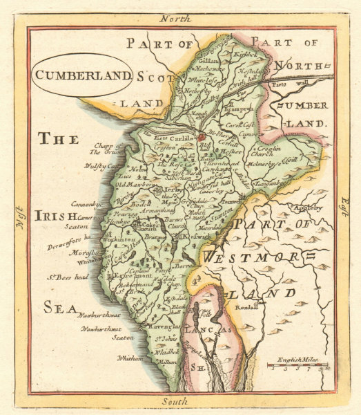 Associate Product Antique county map of Cumberland by John Seller / Francis Grose. Cumbria 1783