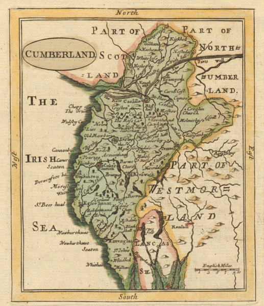 Associate Product Antique county map of Cumberland by Francis Grose / John Seller. Cumbria 1783