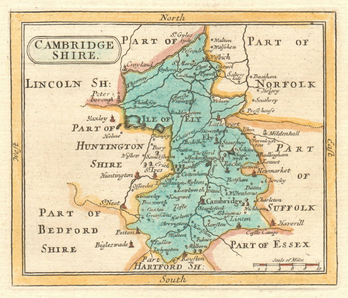 Associate Product Antique county map of Cambridgeshire by Francis Grose / John Seller 1783