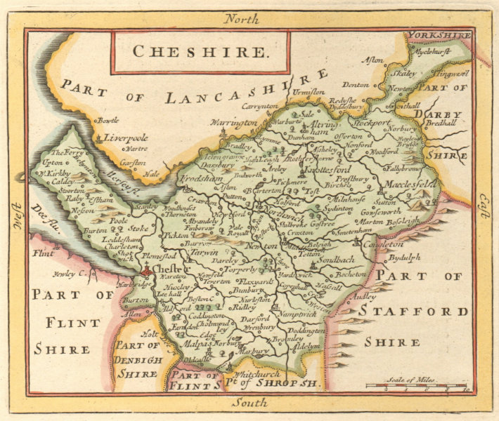 Associate Product Antique county map of Cheshire by John Seller / Francis Grose 1783 old