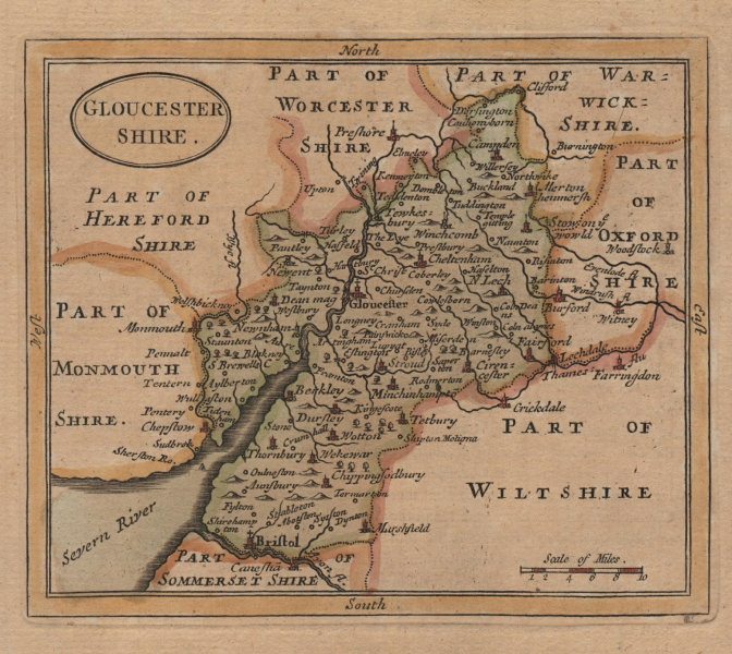 Associate Product Antique county map of Gloucestershire by John Seller / Francis Grose 1783