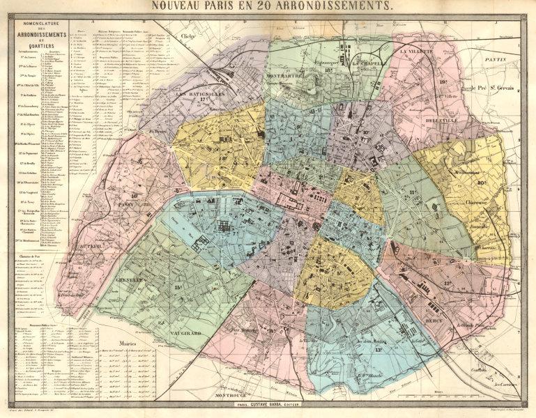 Associate Product Nouveau Paris en 20 Arrondissements. BARBA 1860 old antique map plan chart