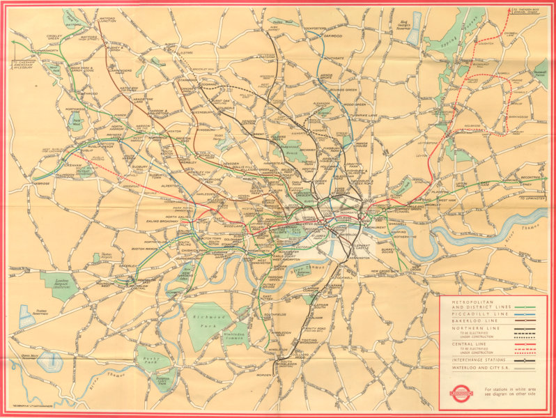 """Associate Product London tube. """"Underground Map and some places of interest"""" - Number 1 - 1947"""
