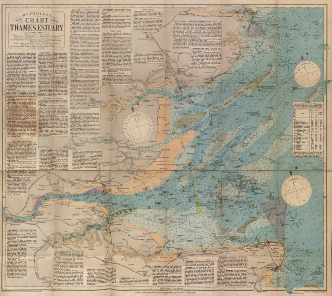Associate Product Reynolds's New Chart of the Thames Estuary. 58x62cm. STANFORD 1915 map