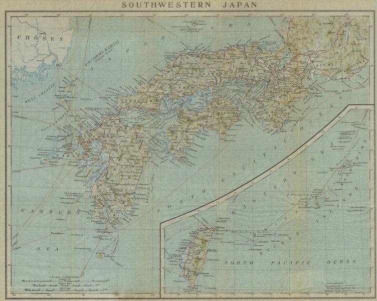 Associate Product South-Western Japan. Honshu, Shikoku, Kyushu & Taiwan 1914 old antique map