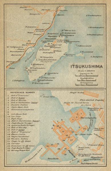 Associate Product Itsukushima island & shrine.Miyajima, Hiroshima Bay. Japan 1914 old map