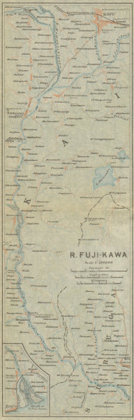 Associate Product River Fuji-kawa. Kofu. Japan 1914 old antique vintage map plan chart