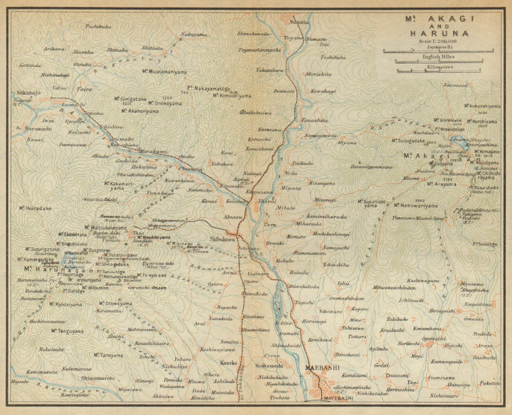 Associate Product Mount Akagai and Haruna. Maebashi. Japan 1914 old antique map plan chart
