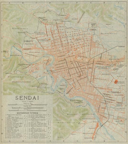 Associate Product Sendai antique town city plan. Miyagi. Japan 1914 old map chart