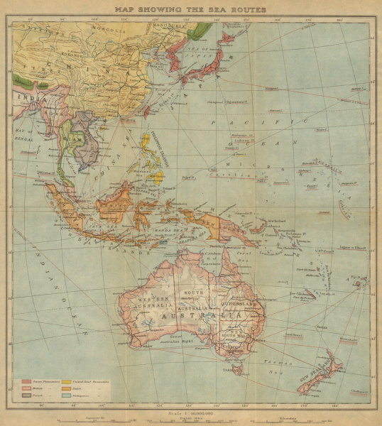 Associate Product East Asia, East Indies & Australasia sea & shipping routes 1920 old map