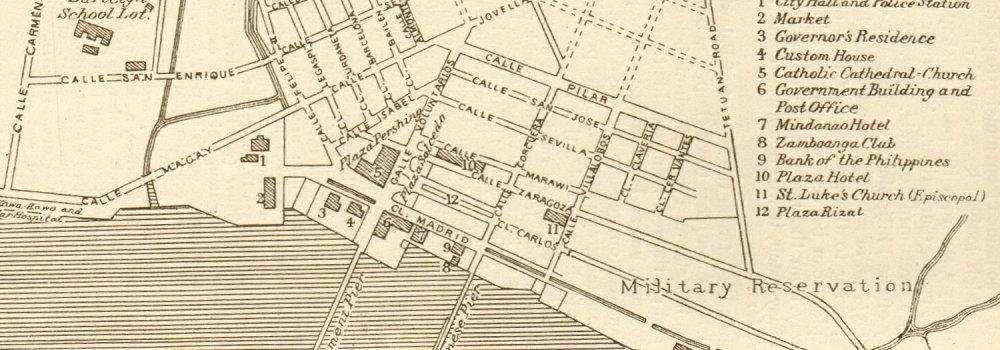 Philippines 1920 old vintage map Mindanao Zamboanga town city sketch plan