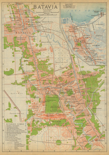 Associate Product Batavia antique town city plan. Jakarta. Indonesia 1920 old map chart