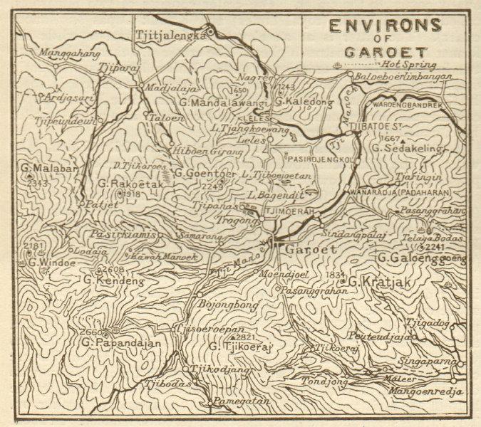 """Associate Product Garut, West Java. """"Environs of Garoet"""" sketch map. Indonesia 1920 old"""