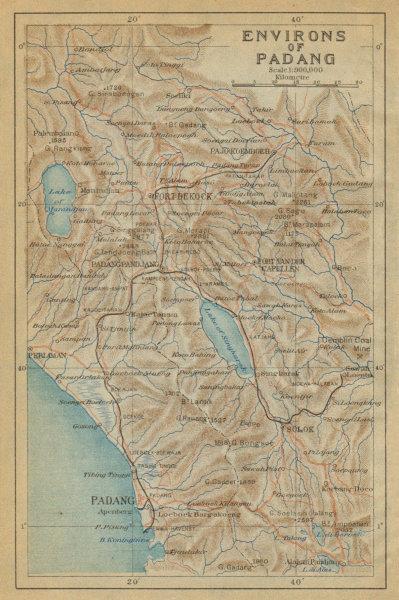 Associate Product Padang & environs. Mount Marapi. Bukittinggi. Sumatra. Indonesia 1920 old map