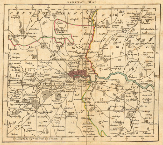 Associate Product LONDON. 15 miles around London. General index map. Cary. 1811 old antique