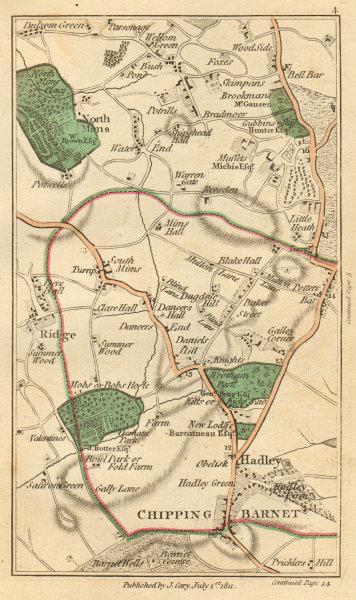 Associate Product POTTERS BAR. Barnet,Welham Green,Monken Hadley,Borehamwood,N/S Mimms 1811 map