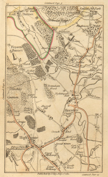 Associate Product HIGHGATE. East/Friern Barnet,Hornsey,Edmonton,Southgate,Wood Green 1811 map