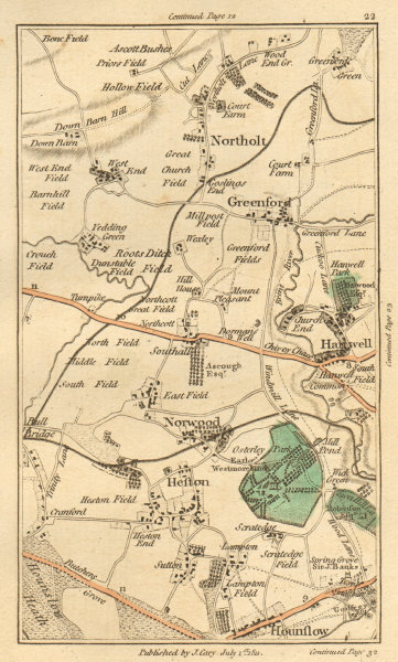 Associate Product GREENFORD. Hounslow, Northolt, Hanwell, Southall, Heston, Osterley 1811 map